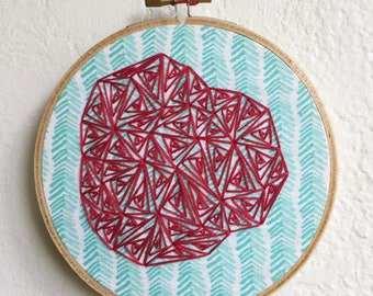 Hand Embroidered. 5 inch hoop. Contemporary Art. Geometric Art. Red. Blue. Hand Embroidery. Home Decor. Ready To Hang Art. Gift. Wall Art.