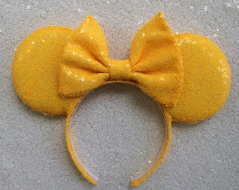 Yellow  Sequin Minnie Mouse Ears, Sequin Ears, Mickey Mouse Ears, Sequin Mouse Ears - Disney Ears