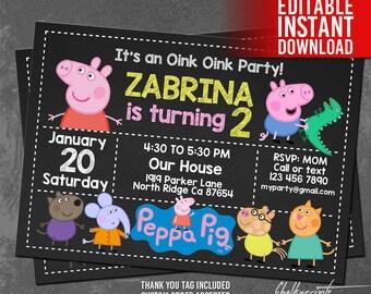 Peppa Pig Invitation Instant Download, Peppa Pig Birthday Invitation, Peppa Pig Invites, Free Thank You Tag, Peppa Pig Editable Invitation