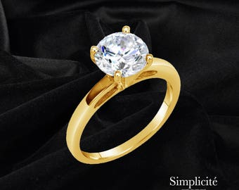 1.5 Ct Round Cut VS1 Diamond Ring, Solitaire Engagement Diamond Ring, 14K Yellow Gold