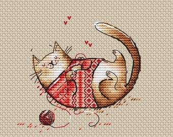 Cat Counted Cross Stitch Pattern Instant download printable PDF file Cute Cat cross stitch chart