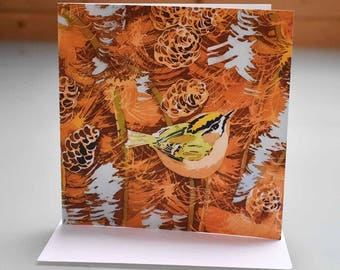 Firecrest on Larch Greeting Card - firecrest card, bird greeting card, birthday card, bird blank inside card, cute british bird card