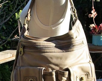 Marc by Marc Jacobs taupe leather shoulder bag