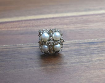 Vintage Sarah Coventry, Faux Pearl & Rhinestone Camelot Ring Adjustable