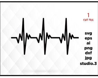 Heartbeat SVG File, Hearbeat Pulse SVG, Medical SVG, Nurse Svg, Cricut Cut Files, Silhouette Cut Files