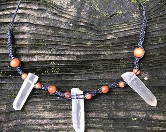Crystal Points & Sandalwood Macrame Necklace