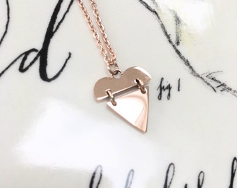Rose Gold Plated Heart Necklace Perfect Bridesmaid, Wedding, Valentines or Birthday Gift