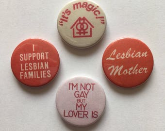 4 Set Retro Lesbian Families LGBT Pride Gay Mothers Badges Buttons