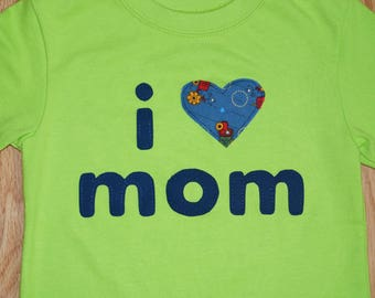 "Boy's ""I Love Mom"" shirt - Lime Green and Navy Blue"