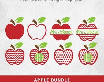 Apple SVG Apple Bundle svg Cricut Silhouette - pdf png svg dxf - Teacher Monogram Cut File SVG, Apple Monogram Apple SVG Teacher svg Clipart