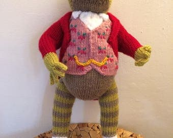 Beautiful hand knitted Jeremy Fisher from the stories by Beatrix Potter.