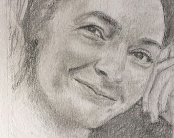 Corinne Masiero portrait, pencil on A4 paper, 2017