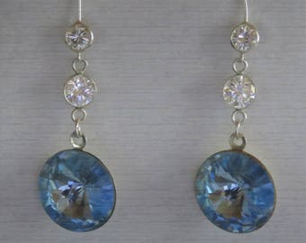 Dangle & Drop Round Swarovski Crystal Light Sapphire blue 16 MM round with silver cubic zirconia link