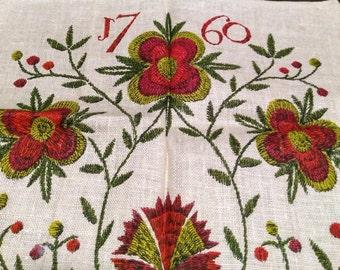Vintage John Gieroch 1760, Colonial Flower Basket, Print of Crewel Work Tea Towel