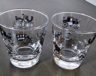 2 Mid Century Libbey Glass, Antique Auto, Lowball, Cocktail, Old Fashion Glasses