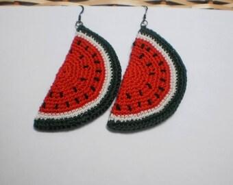Crochet Jewelry.Watermelon Earrings.Earrings handmade with watermelon slices.Knitted crocheted earrings. Hand made earrings.