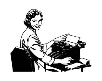 Retro Secretary Typing Old Business Woman Office Job Professional .SVG .EPS .PNG Vector Space Clipart Digital Download Circuit Cut Cutting