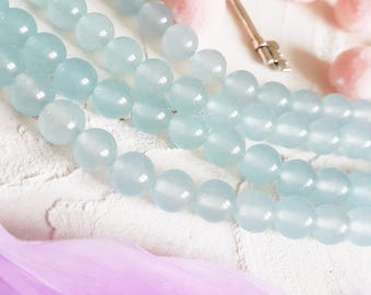 Aquamarine 8mm beads, Semi precious beads, Mala beads, Light blue beads, Gemstone beads, Jewelry beads, Grade AA beads, Full strand 46pcs