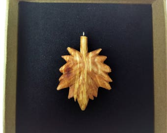 Maple Leaf Pendant, Hand Carved Wooden Pendant