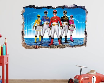 Power Rangers Wall Decal   Smashed 3D Wall Art   Power Rangers Movie Kids  Decor