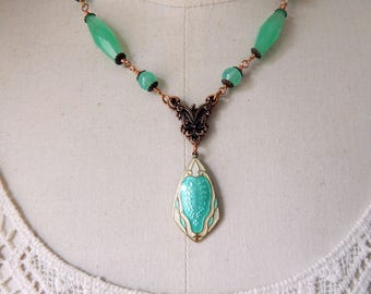 Antique Edwardian Guilloche Enamel Lavalier Necklace with Green Vintage Beads