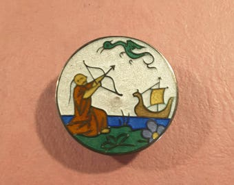 Antique button enamel on silver, early 1900's