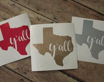 Texas Y'all Decal