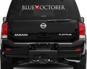 "Blue October Heart Large Vinyl Car Vehicle Window Decal 3.5"" X 31.5"""