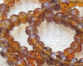 8x6mm Czech Glass Faceted Rondelle Beads Amber  (10pcs) -Czech Glass Beads
