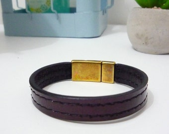 Burgundy /brillant leather bracelet
