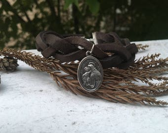 Braided Leather Bracelet - Saint Anthony