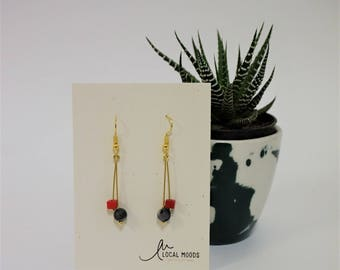red matt gray grey semiprecious stone dangle earrings, minimal, modern, gold plated,  perfect birthday gift valentines day