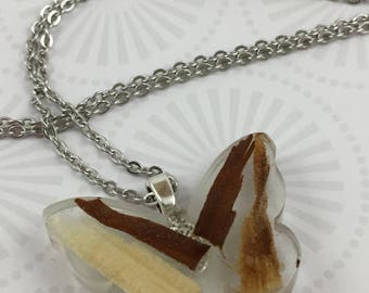 Butterfly Resin Necklace with Wood chips