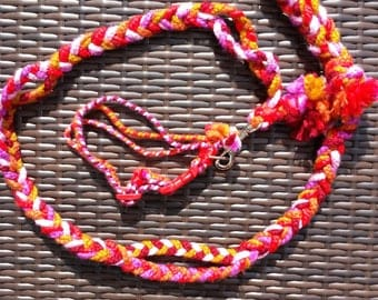 Beautiful red orange pink and yellow Flexi Braid leash with collar