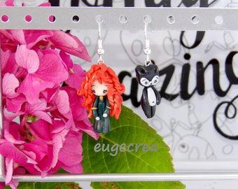 Earrings Princess Merida in Fimo