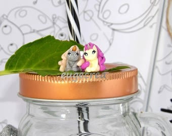 My two unicorns with polymer clay ring