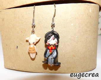 Harry and Dobby earrings in dough fimo and stainless steel