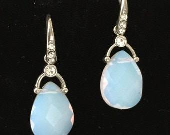 Vintage Costume Jewelry - Light Blue Quartz Drop Earrings, with Rhinestones and Silver Tone Hardware.