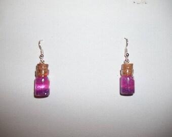 Glittery purple vials earrings