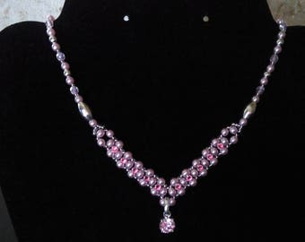 Ceremony, wedding rose Pearl and rhinestone necklace