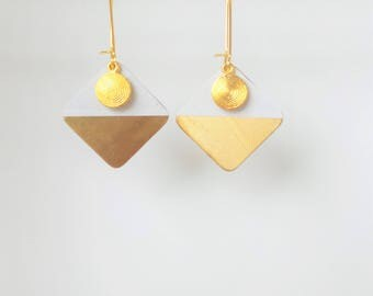 White and gold geometric earrings