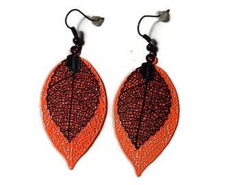 Dangling earrings, neon orange filigree leaves and black/gift
