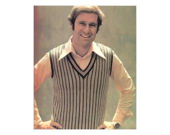 Mens Striped Vest - Knitting Pattern - V-neck, Sleeveless Pullover