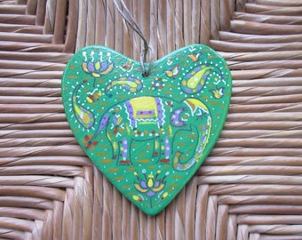 Painted wood heart hanging decoration