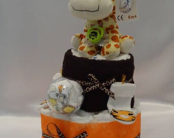 Cute giraffe - diaper cake - and her clothes - newborn