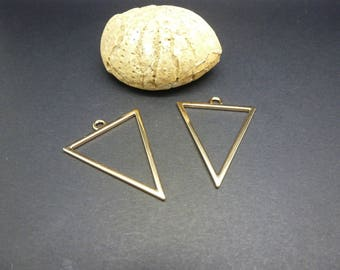 2 charms geometric Triangle 35 * 27mm, gold (8SBD53)