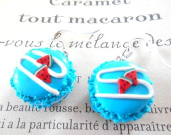 Turquoise Fimo polymer clay earrings.