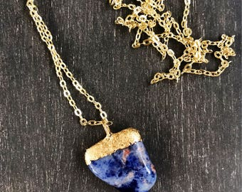 Gold Dipped Sodalite Crystal Necklace