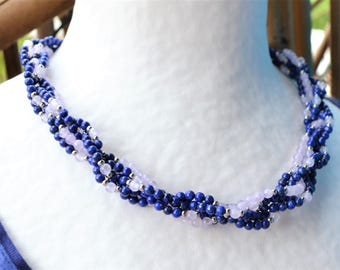 Twisted lapis lazuli beads and lavender Amethyst necklace / silver plated and stainless steel / Valentine /Pierres wisdom and communication