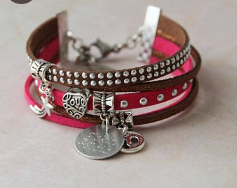 "Bracelet personalized with names ""Basic"" chocolate raspberry"